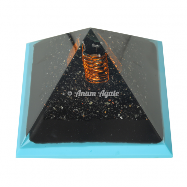 Blue Flame Tourmaline Orgonite Pyramid