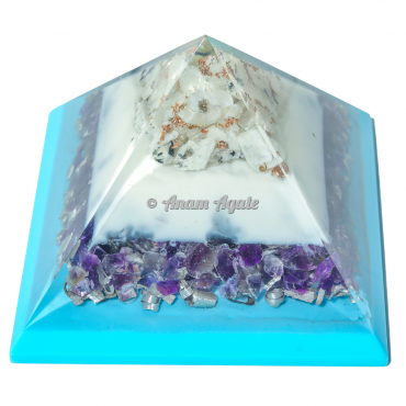 Blue and White Flame Amethyst Orgonite Pyramid