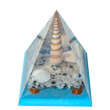Blue Flame White Rainbow Orgonite Nubian Pyramid