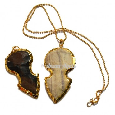 Agate Arrowheads Golden Edges Pendants