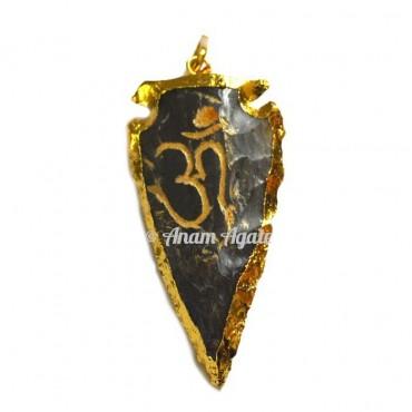 Om Engraved Arrowheads Pendants