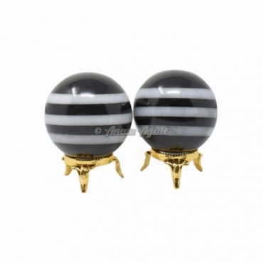 Black and White Stripped Ball Sphere with Stand
