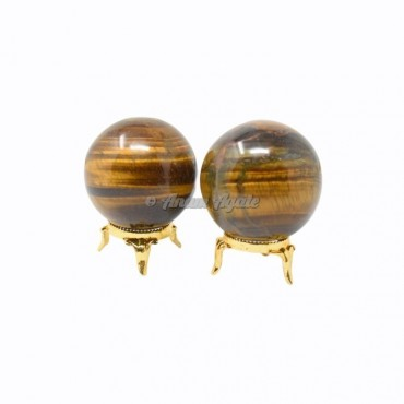 Tiger Eye Ball Sphere with Stand