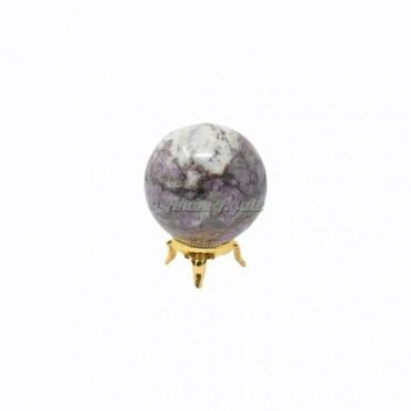 Ruby Feldspar Ball Sphere with Stand