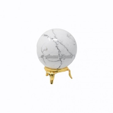 Howlite Ball Sphere with Stand