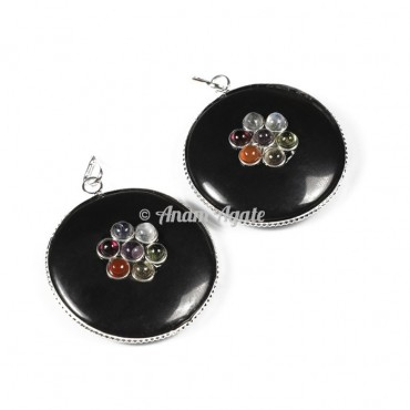 Black Tourmaline Chakra Disc Pendants