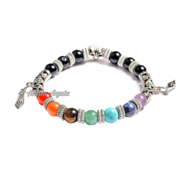 Fancy Black Tourmaline Chakra Bracelets