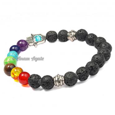 Lava 7 Chakra Bracelets with Hamsa