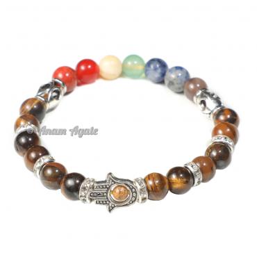 Tiger Eye | Hamsa Evil Eye Chakra Bracelet