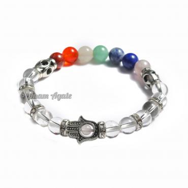 Crystal Quartz| Hamsa Evil Eye Chakra Bracelets