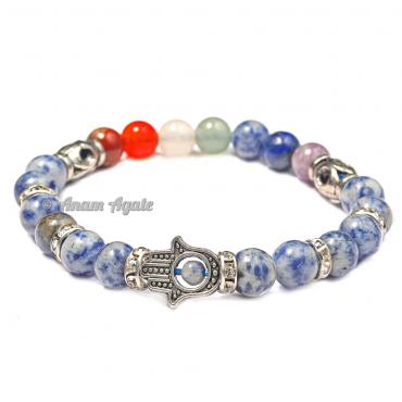 Sodalite|Hamsa Evil Eye Chakra Bracelets