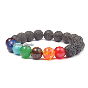 Lava Stone Bracelet with Chakra Beads