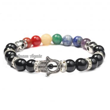 Black Tourmaline|Hamsa Evil Eye Chakra Bracelets