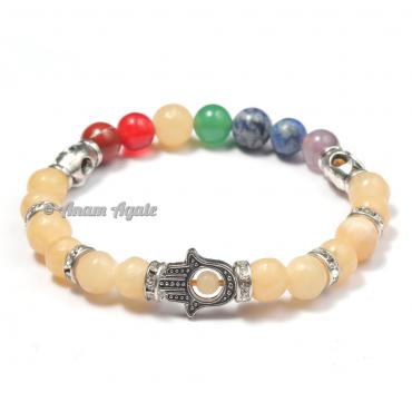 Calcite|Hamsa Evil Eye Chakra Bracelets