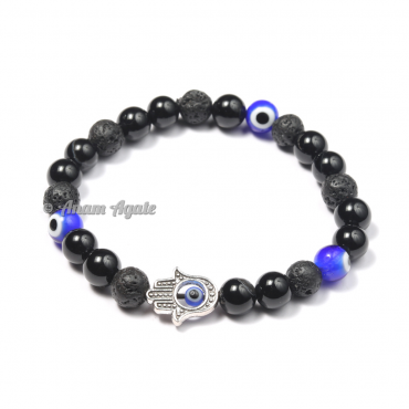 Chakra Bracelets with 3 Evil Eye Beads