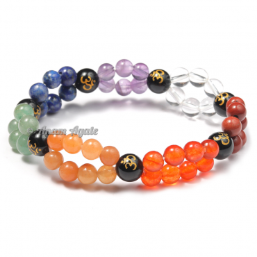Double Line Chakra Bracelets with Engraved