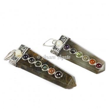 Labradorite Chakra Flat Pencil Pendants