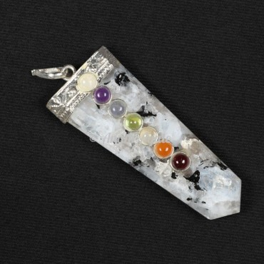 Rainbow MoonStone Chakra Flat Pencil Pendants