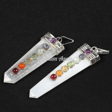 Selenite Chakra Flat Pencil Pendants