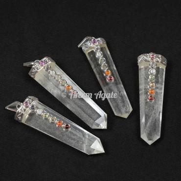 Crystal Quartz Chakra Flat Pencil Pendants