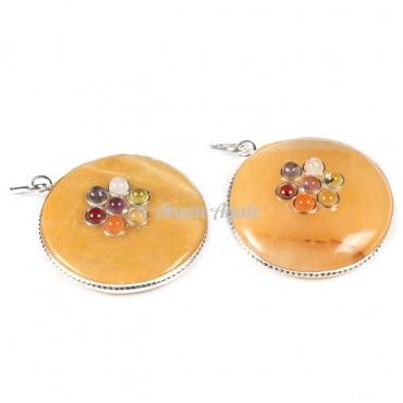 Yellow Quartz Chakra Disc Pendants