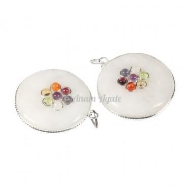 White Agate Chakra Disc Pendants