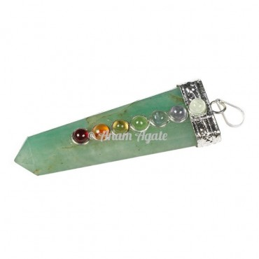 Green Aventurine Chakra Flat Pencil pendants