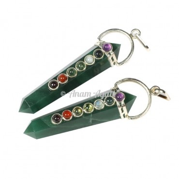 Green jade Chakra Double Point Pendants