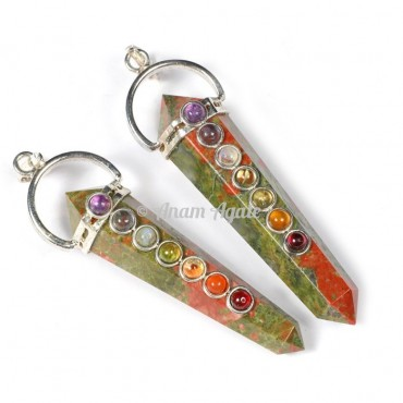 Unakite Chakra Double Point Pendants