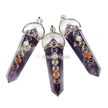 Amethyst Chakra Double Point Pendants