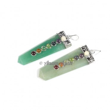 Green Aventurine Flat Pencil Chakra Pendants