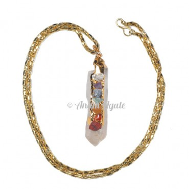 Crystal Quartz Natural Gold Electro Pendants