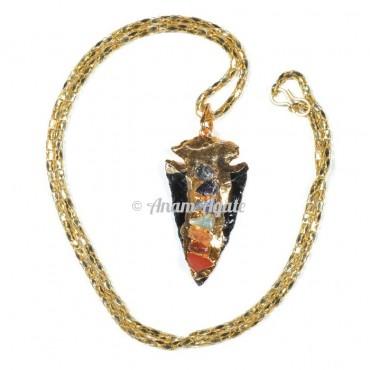 Black Obsidian Chakra Arrowheads Gold Electro Pendants
