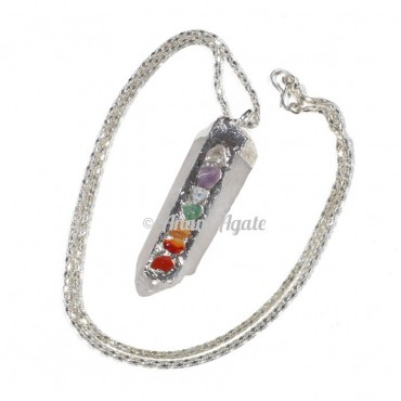 Crystal Quartz Chakra Natural Pencil Pendants