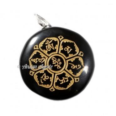 Black Jasper Chakra Sanskrit Pendant