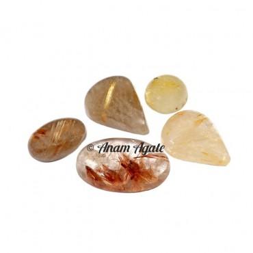 Golden Rutile Gemstone Cabochons