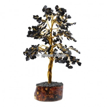 Black Jasper 300 chips golden wire tree