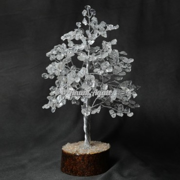 Crystal Quartz 300 Chips Silver Wire Tree