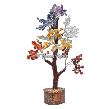 7 Chakra Mseal 300 Chips  Silver Wire Tree