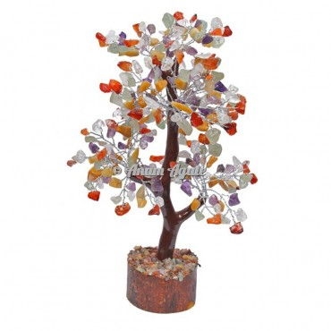 Multi Stone Mseal 300 Chips  Silver Wire Tree