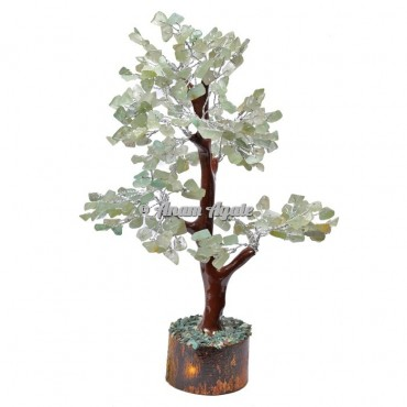 Green Aventurine Mseal 300 Chips  Silver Wire Tree