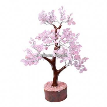 Rose Quartz Mseal 300 Chips  Silver Wire Tree
