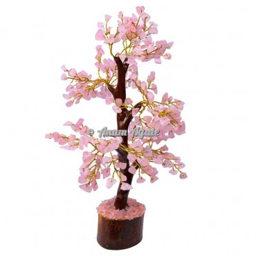 Rose Quartz Mseal 300 Chips  Golden Wire Tree