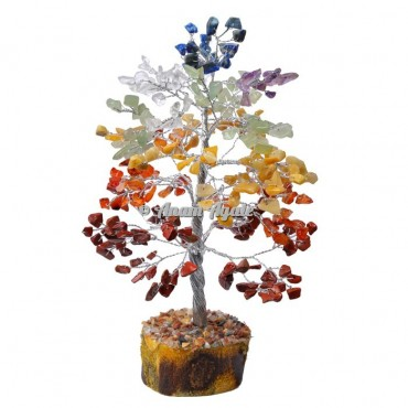 7 Chakra Stone 300 Chips Silver Wire Tree