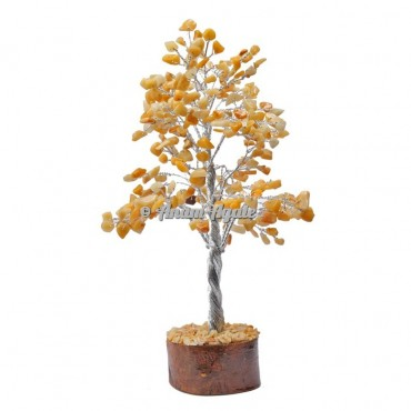 Golden Quartz 300 Chips Silver Wire Tree