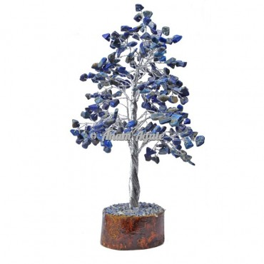 Lapis Lazuli 300 Chips Silver Wire Tree