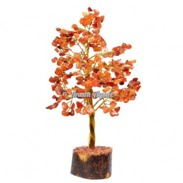 Red Carnelian 300 Chips Golden Wire Tree