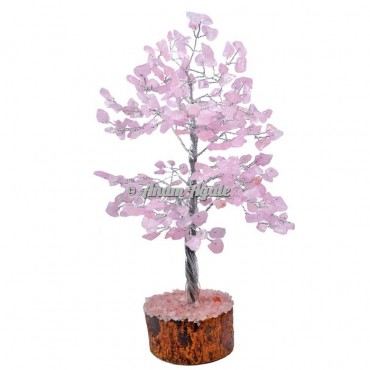 Rose Quartz 300 Chips Silver Wire Tree