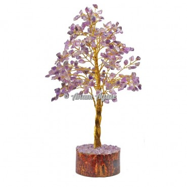 Amethyst  300 Chips Golden Wire Tree