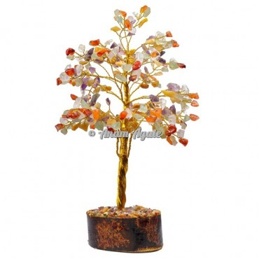 Multi Stone Chips 300 Chips Golden Wire Tree